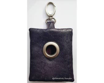 Dog Waste Bag Dispenser - Holds Two Rolls- Faux Leather