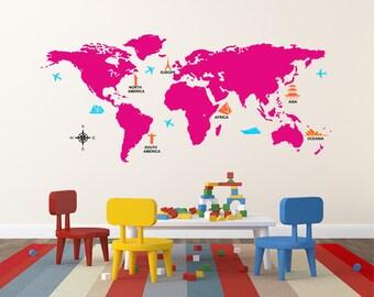 100 best world map wall sticker etsy on cattpix