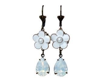 Flower Earring, White Opal Swarovski Earring, Flower Dangle Earring, White Flower Earring