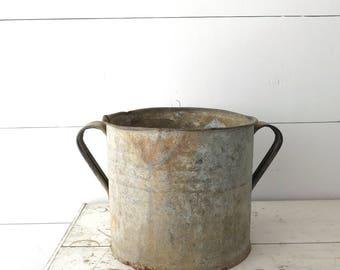 Vintage Galvanized Zinc Tub, Hungarian Metal Planter, Large Planter, Farmhouse, Garden Decor   BoulderBlueStudio