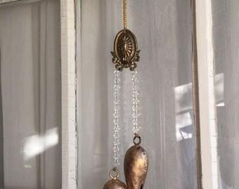 Victorian Bells, Hanging Bells, Antique Bells, Brass Medallion, Repurposed Hardware Bell, Victorian Bell, Crystal Chandelier, Crystal Beads