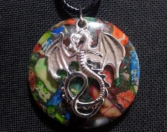 Dragon on Sea Sediment Jasper + Free Shipping Worldwide, Dragon Jewelry, Dragon Totem, Crystal Jewelry, Dragon Necklace, Dragon Pendant