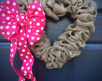 Heart Wreath, Polka Dots, Valentines Day, Love Gift, Pink Polka Dots, Burlap Heart Wreath, Heart Decor, Heart Door Wreath, Burlap Wreaths