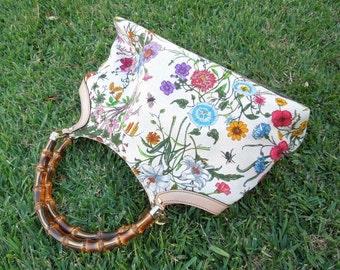 "Vintage Rare ""Gucci"" Flora Bamboo Canvas Hand Bag"