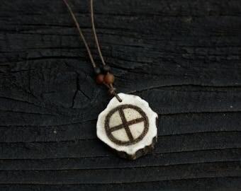 Sun cross deer antler pendant with Baltic amber - carved Germanic solar wheel symbol, prehistoric pagan heathen Odin Asatru Viking jewelry
