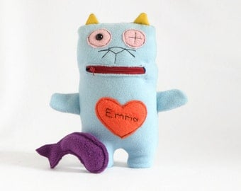 Personalized Plush Toy, Name Tag Doll, Plushies, Monster Doll, Light Blue Stuffed Animal, Scary Cat Plush Toy, Soft cat Doll, Cute baby Gift