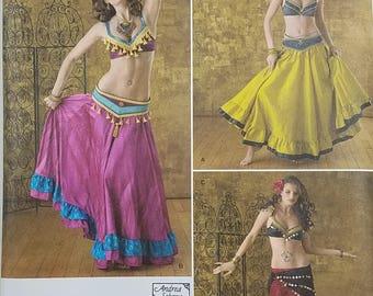 Misses' Belly Dance Skirt, Bra and Belt Costume Pattern. Uncut. Size R5 14, 16, 18, 20, 22. Simplicity 2158.