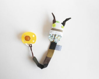 Zezling dummy clip | ZUPETA: soothie pacifier clip doll | baby accessory | binky buddy | camouflage monster softie doll with pacifier holder