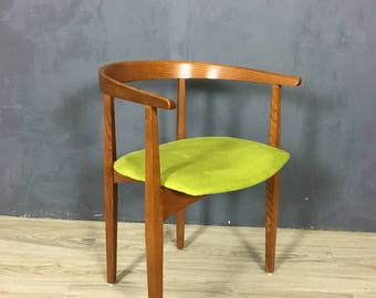 Mid Century Oak Accent Chair with Upholstered Seat