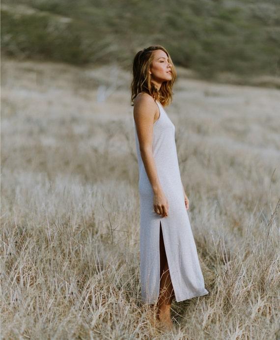 Molly Racerback Side Slit Midi Dress / Heather Oatmeal Jersey
