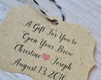 Wedding Favor Tag, Bottle Opener Tag, Bracket Tag, Thank You, Favor Tag, Gift Tag, Weddings