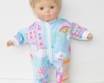 """bitty baby clothes, doll girl or 15"""" twin, pajamas pjs sleeper, blue pink purple white, castle flannel rainbow, handmade adorabledolldesigns"""