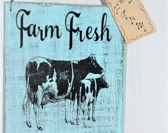 Vintage Farmhouse country cow sign ~ Country kitchen cow sign ~  Country farmhouse vintage ~ Handmade in USA