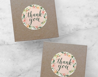 INSTANT Thank You Stickers, Spring Marketing, PDF Printable Packaging Stickers for Online Shops, Etsy Sellers, Floral Stickers, Avery