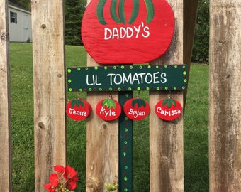 Personalized father grandfather tomato sign garden stake lawn ornament