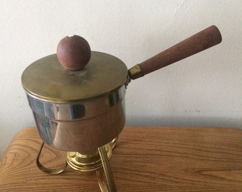 Mid Century Metal and Wood Pot with Metal Stand