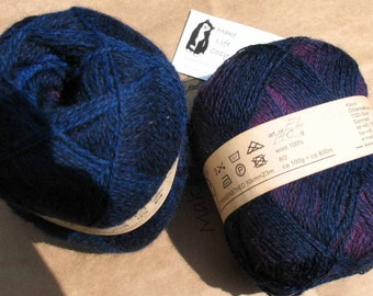 Royal Blue Purple Kauni EL 2 ply wool sport weight yarn. Knit Crochet and Felt. Imported from Denmark. Ships from USA