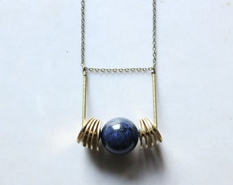 dumortierite jewelry blue orb necklace brass Geometric pendant necklace long statement necklace gold modern minimalist jewelry urban jewelry