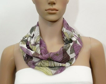 Purple Scarf Infinity Scarf Floral Scarf White Scarf Fashion Scarves Scarf Shawl Cowl Scarf Tube Scarf Summer Scarf Gift for her Handmade
