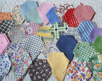 30 Vintage Sets of Cut Quilting Hexies and Petals Feedsack and Vintage Material Yardage