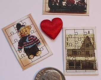 MInature Puzzles for Doll House, 1:12, Set of Three, Teddy Bear, Farm House, Rabbit With Baby Carriage