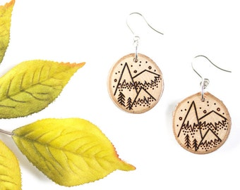 Wood-Burned Mountain Earrings, Wood Mountain Earrings, Wood Earrings, Mountain Jewelry, Wood Slice Earrings, Wood Slice Jewelry