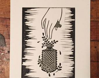Perfume Bottle Relief Print