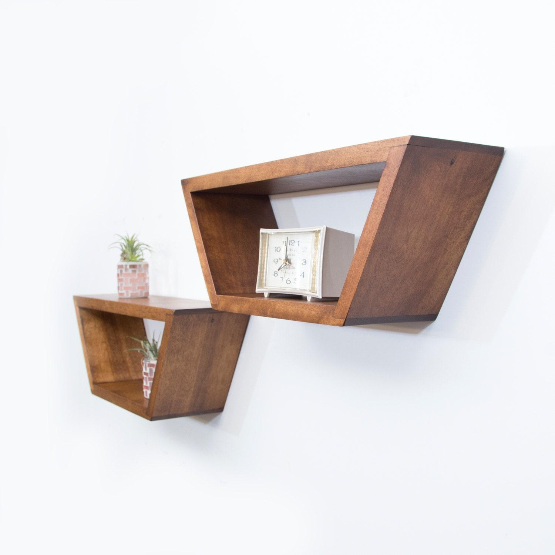 Mid Century Modern Shelves Floating Shelf Geometric