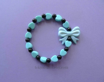 Mint & Black Bow Bracelet Kawaii- Gothic- Pastel Goth- Gothic Lolita- Sweet Lolita-JFashion- Harajuku- Fairy Kei- Creepy Cute