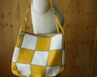 Seventies Leather Yellow and White Patchwork Shoulder Bag