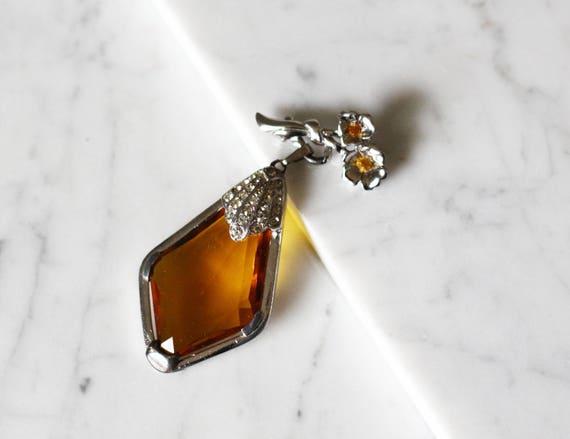 1960s large Amber brooch // 1960s brooch // vintage brooch
