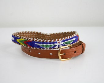 Blue Hawk Beaded Belt