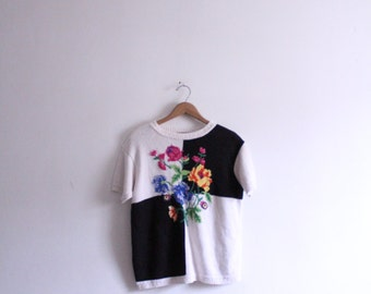Color Block Bouquet 80s Sweater