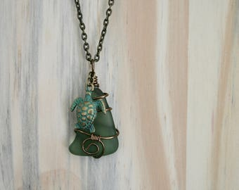 Green Beach Glass Necklace with Turtle Charm
