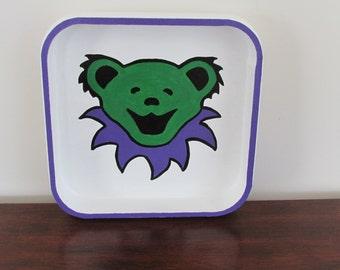 Grateful Dead Dancing Bear Tray - Green & Purple Bear