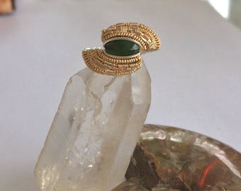 Jade Wire Wrapped Sterling Silver and Goldfill Ring ~ Size 7