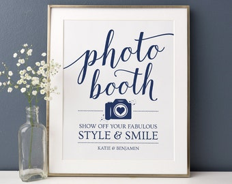 Printable Wedding Photo Booth Sign // Photobooth Sign Printable, Navy Wedding Sign // Instant Download, Editable Template