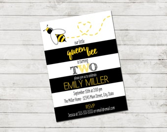 Bee Birthday Party Invitation - Queen Bee Birthday Invite - Bee Invitation - Large Black and White Stripes - Yellow Black - Printable