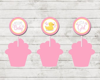 Cupcake Toppers - Duck Baby Shower - Duck Shower Game - Yellow Duck - Large Chevron Stripes - Pink - INSTANT DOWNLOAD - Printable