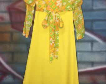 Vintage 70's Ladies Women Yellow Long Dress With Hat