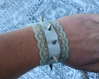 PREMADE One White Leather and Pastel Green Lace Studded Spike Bracelet