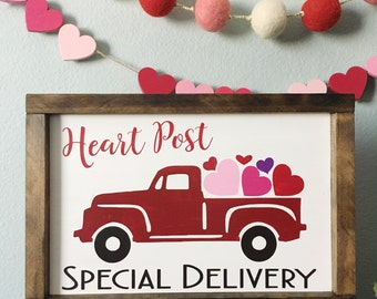 Valentine's Day Vintage Truck with Hearts Wood Sign - Vintage Truck Decor - Farmhouse decor - Valentine's Day Decor - Truck Sign