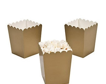 24 Mini GOLD popcorn boxes treat favors gold wedding bridal shower baby shower birthday party girls first birthday