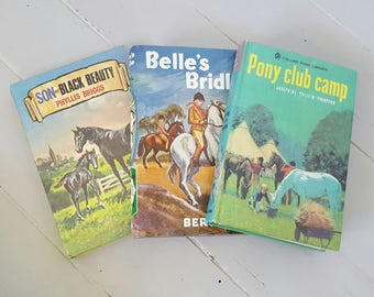3 PONY Themed Vintage Books HORSE