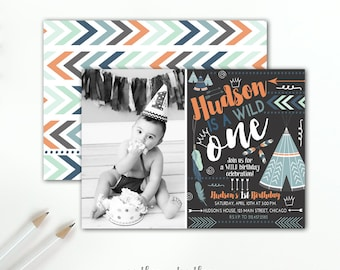 Wild One Birthday Invitation, Boy's First Birthday Boho Wild Tribal Adventure, Photo Invitation Feathers Arrows Indian, Printable or Printed