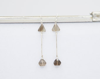 Faceted Smoky Quartz Up Arrow Drop Earrings, Smoky Quartz Hammered Silver Dangle Earrings, Christmas Holiday Gift for Her, Birthday gift her
