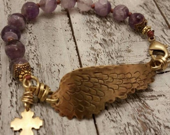 Amethyst Hammered Brass Wing Cross Knotted Bracelet