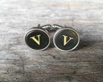 "Vintage Typewriter Key Cufflinks 'V V' The Letter V, Initial V, Black and Silver 5/8"" (15mm) Steampunk, Writer, Literary, Wedding, Prom"