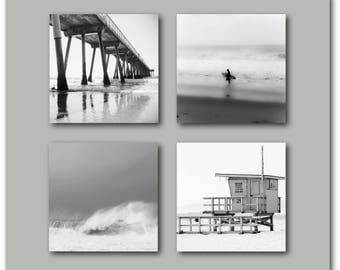 Black and White Beach Photography Set of 4 prints, Surf, Waves, Ocean, Pier, Water, California, Modern, Surfer, Living Room, Bedroom, Dining