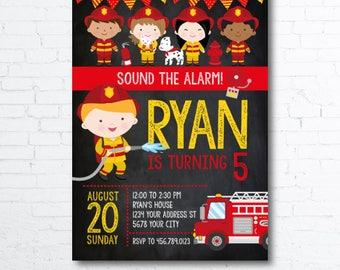 Fireman Invitation, Firetruck Invitation, Firefighter Invitation, Firefighter Birthday Party, DIGITAL, 2 Options